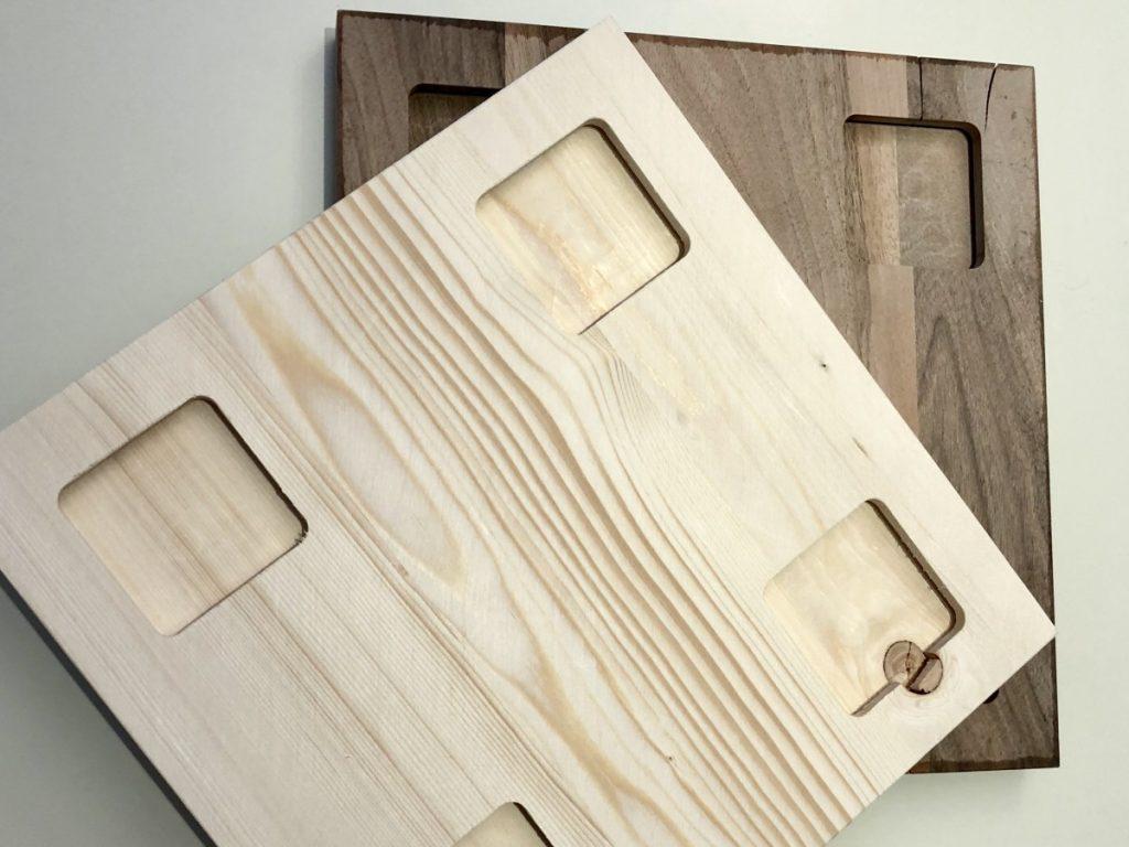 4 quadratische Ausnehmungen an der Rückseite zur Montage
