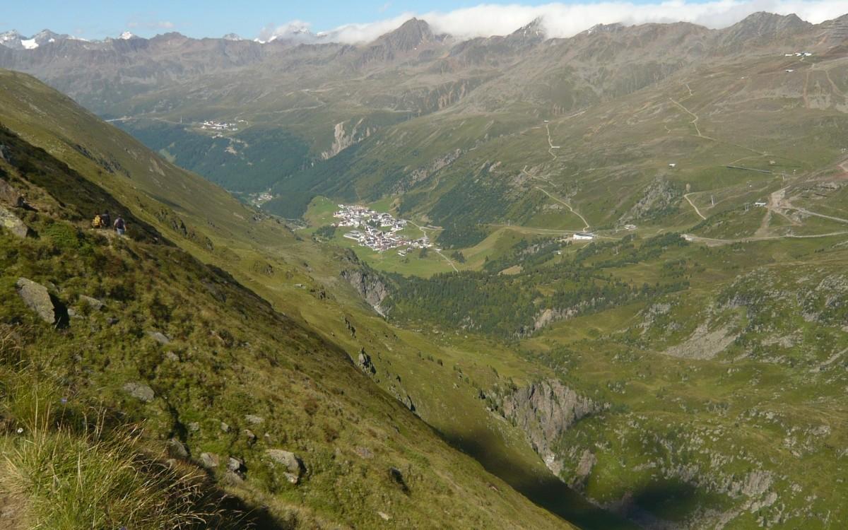 Blick auf Obergurgl am Rückweg vom Ramolhaus.