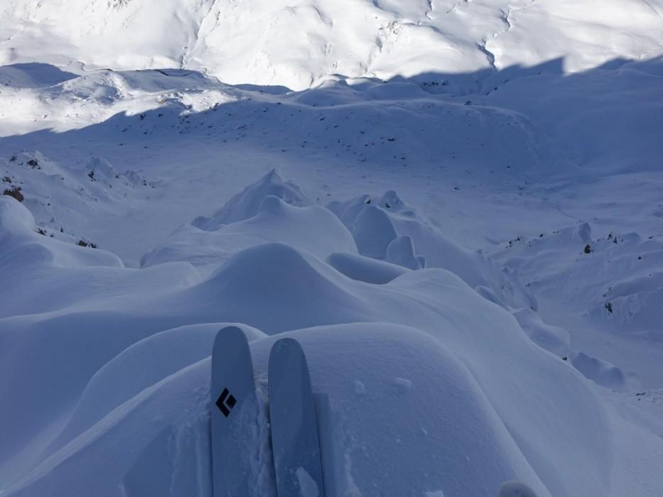Gewöhnliche Skifahrer sehen hier keine Abfahrtsmöglichkeit.