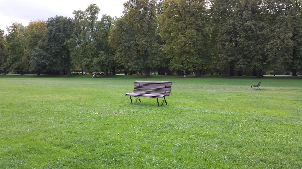 Einsam. Verloren. Und verlassen. Kann ich dieser Parkbank bald nachfühlen? (wäre aber irgendwie ein netter Ort um mit seinen Freunden ein Feierabend Bier zu genießen - wie absurd)