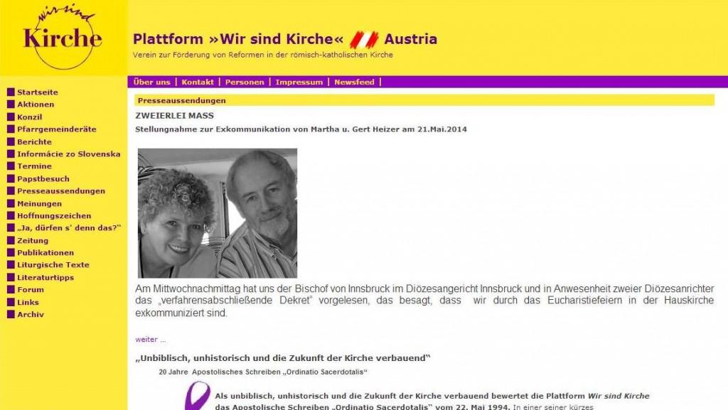 """Auf ihrer Plattform """"Wir sind Kirche"""" melden sich Martha und Gert Heizer mit einer Stellungnahme zu Wort."""