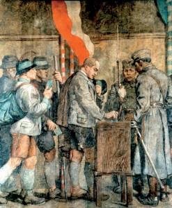Ein Gemälde zur Abstimmung von 1920.