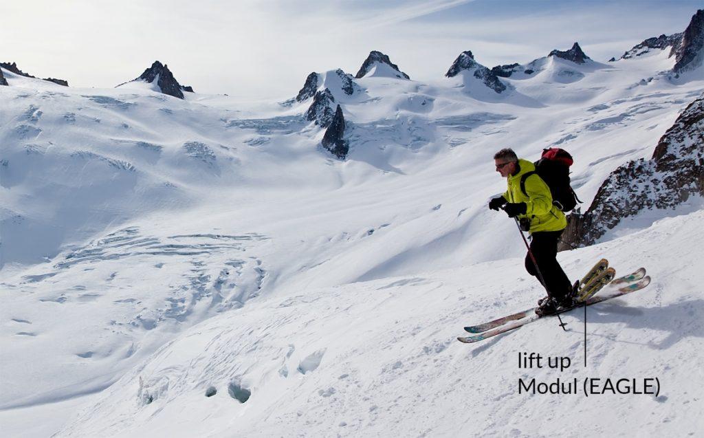 Pures Abfahrtsvergnügen dank lift-up Modul! Elektrische Tourenski verhalten sich bergab wie ein Alpinski.