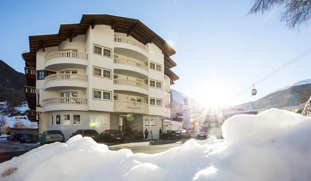 Am besten Platz von Sölden, das Hotel Valentin direkt an der Gaislachkoglbahn.
