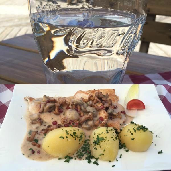 Hungry, I was recommened this water with the elderberry syrup and this delicious food with chicken, mushrooms, potatoes and some typical austrian sauce.