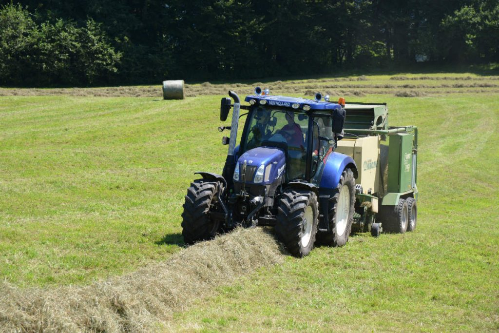 Der Sohn des Chefs ist bei der Heuarbeit zumeist auf dem Traktor zu finden.