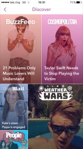 Auf der Discover Seite werden die News der Stars in Videos und Bildern dargestellt.